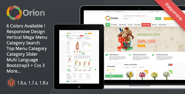 ThemeForest Orion Mega Shop Responsive Magento Theme 7344075