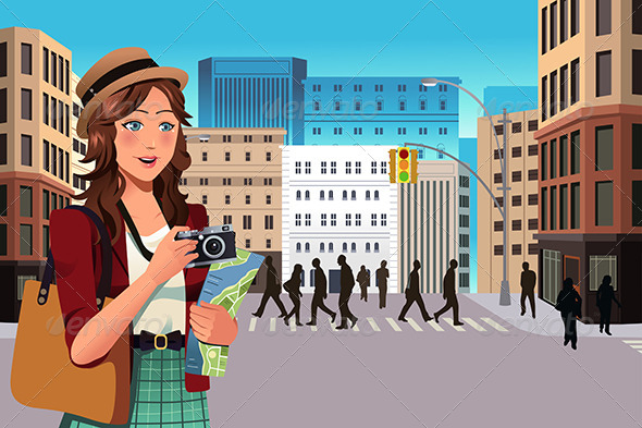 GraphicRiver Female Tourist in the Summer 7344096