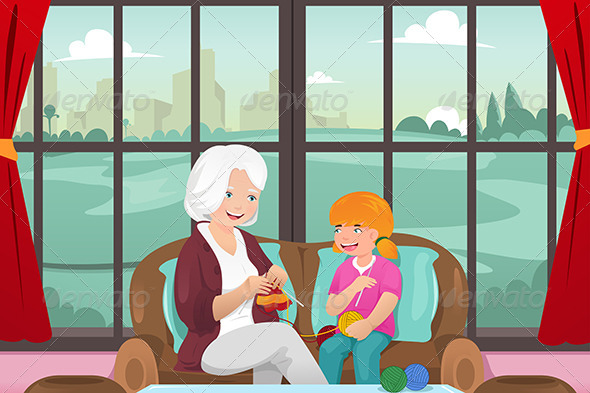 GraphicRiver Grandma Teaching her Granddaughter Knitting 7344117