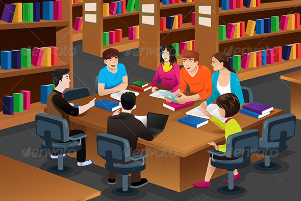 GraphicRiver College Students Studying in the Library 7344215