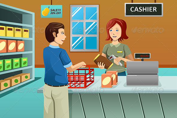 GraphicRiver Cashier Working in the Grocery Store 7344530