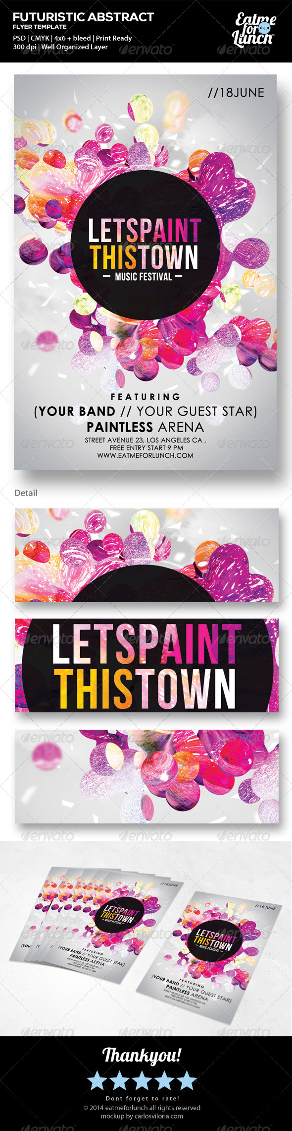 GraphicRiver Futuristic Abstract Flyer Lets Paint This Town 7345285