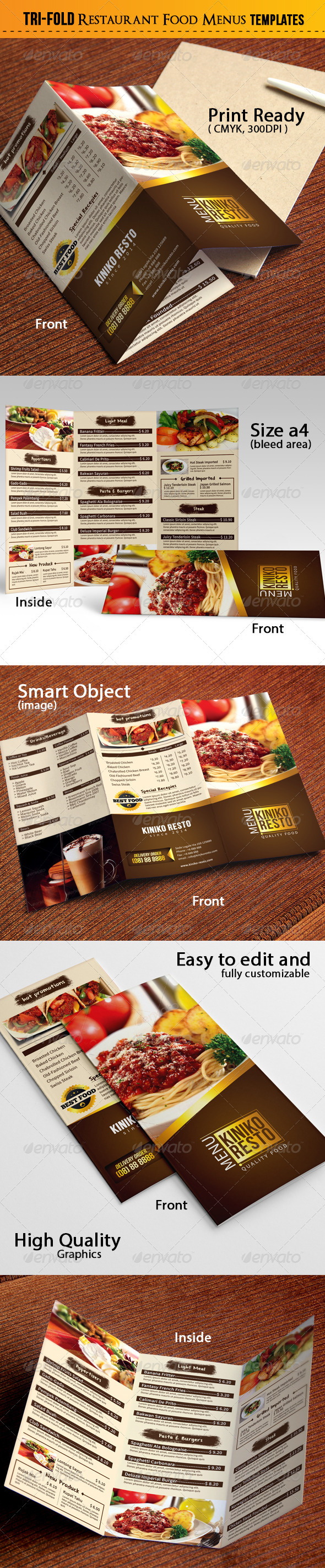 GraphicRiver Tri-Fold Restaurant Food Menus 7345321