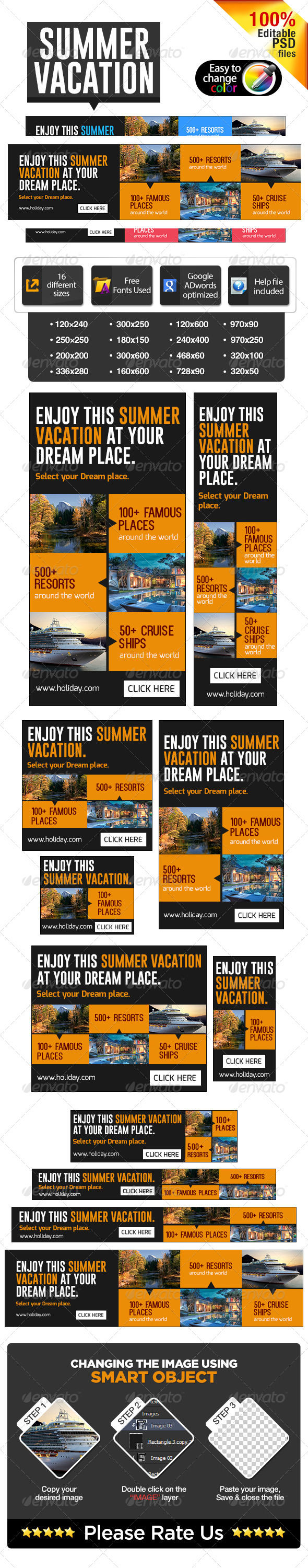 GraphicRiver Summer Vacation Banners 7345369