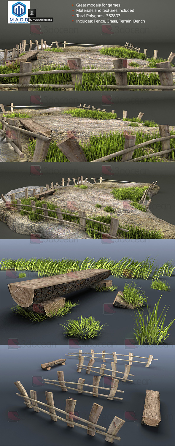 3DOcean Old Wood Fence and Grass Pack & Bench and Terrain 7345380
