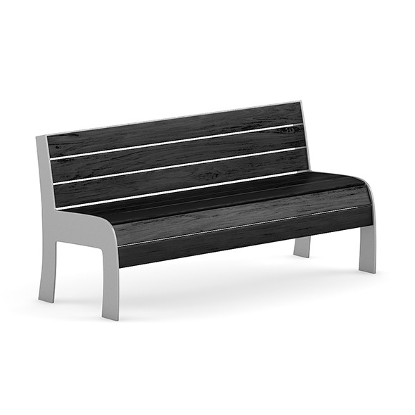 3DOcean Black Wood Bench 7345751