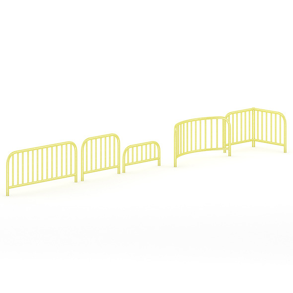 3DOcean Yellow Sidewalk Barriers 7345755