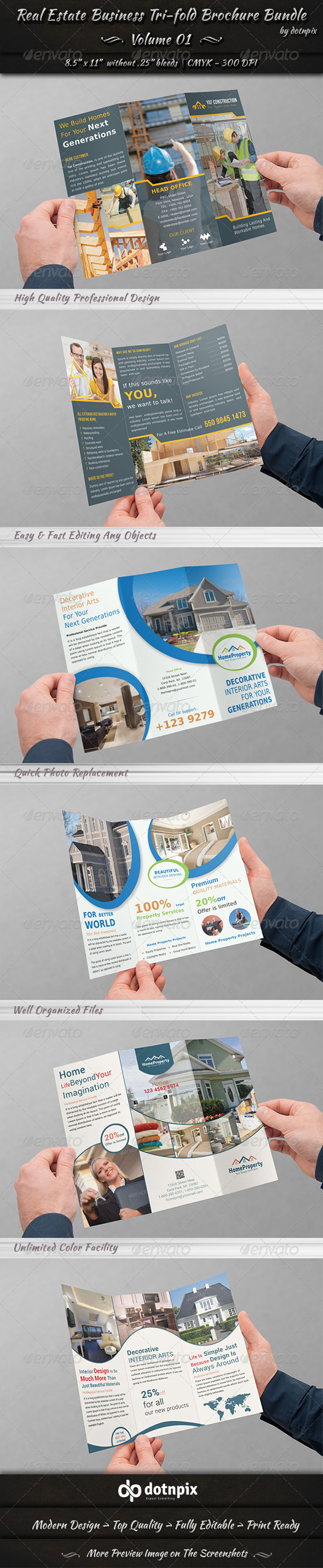 GraphicRiver Real Estate Tri-fold Brochure Bundle Volume 1 7243516
