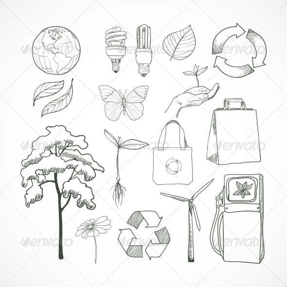 GraphicRiver Doodles Ecology and Environment Set 7345945