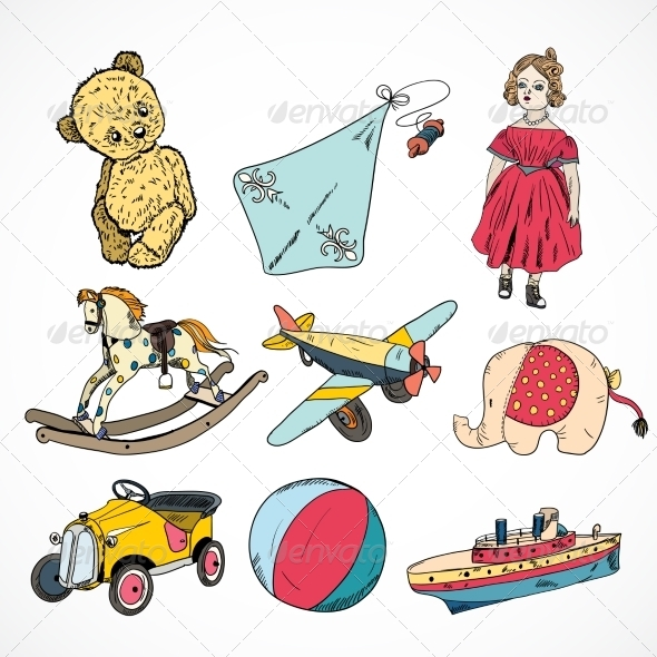 GraphicRiver Toys Colored Sketch Icons Set 7345948