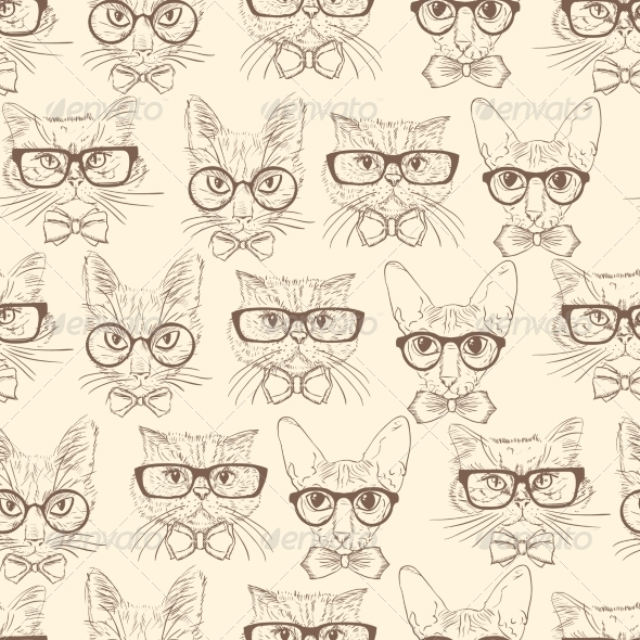 GraphicRiver Cat Hipsters Seamless Pattern 7345962