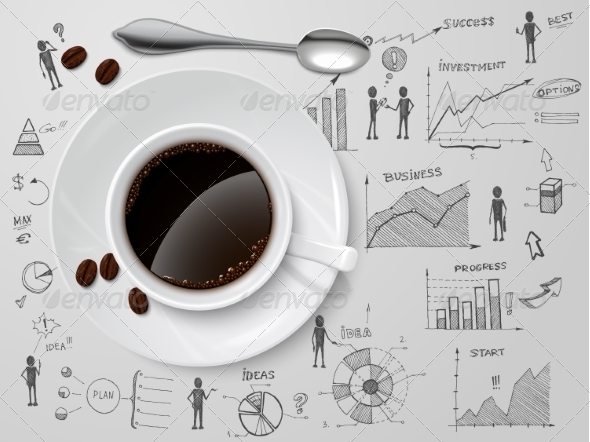 GraphicRiver Coffee Cup on Business Sketch 7345986