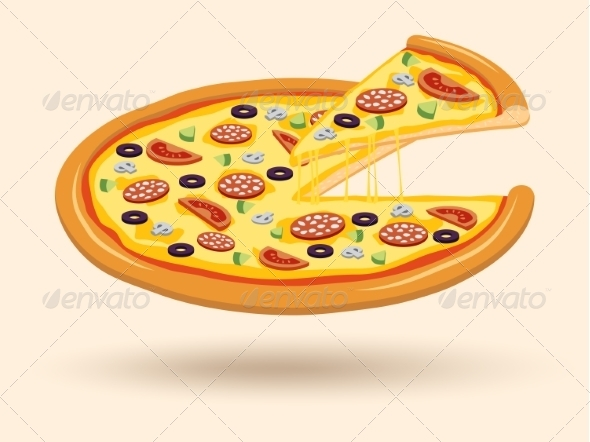 GraphicRiver Meat Cheese Pizza Symbol 7345988