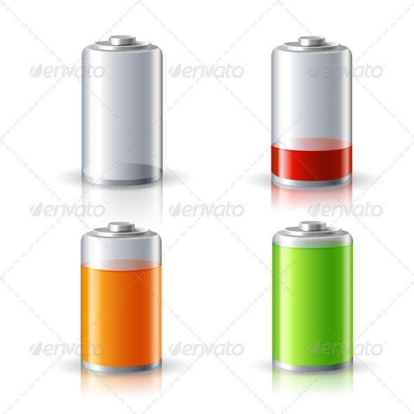 GraphicRiver Realistic Battery Status Icons Set 7346035