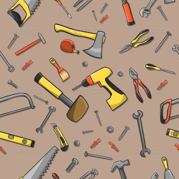 GraphicRiver Carpenter Tools Seamless Pattern 7346053