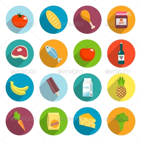 GraphicRiver Supermarket Foods Flat Icons Set 7346106
