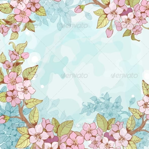 GraphicRiver Sakura Branch Frame Background 7346132