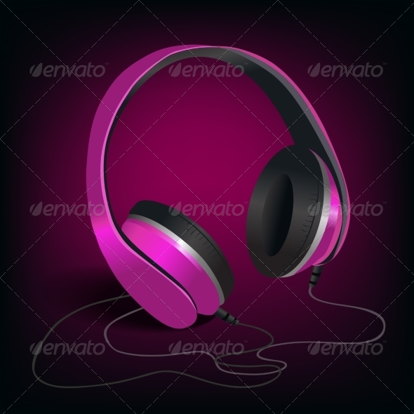 GraphicRiver Pink Headphones on Purple Background 7346137