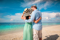 Vacation Couple walking on tropical beach Maldives. - PhotoDune Item for Sale