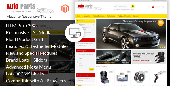 ThemeForest Auto Parts Tools Magento Theme 7346251