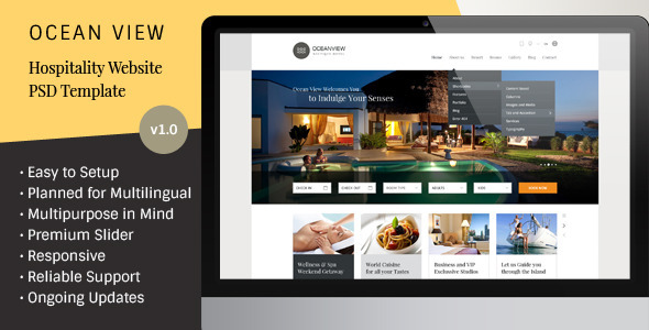 ThemeForest Ocean View Hotel Website PSD Template 7260962