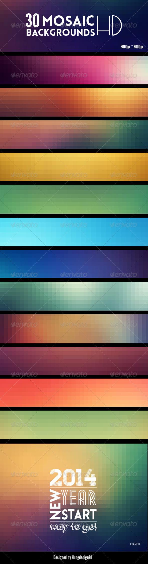 GraphicRiver 30 Premium Mosaic Backgrounds Bundle 7346617