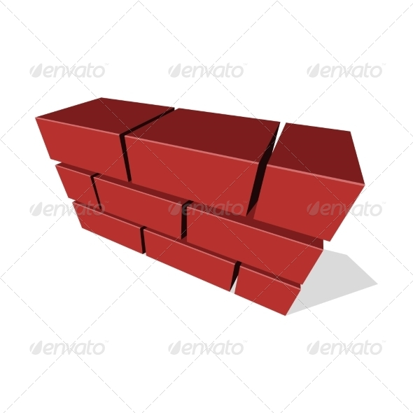 GraphicRiver Brick Wall Icon 3D on White Background 7346772