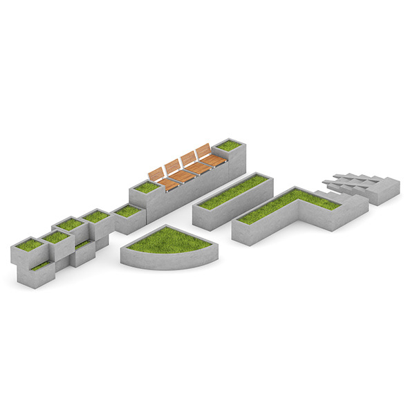 3DOcean Park Concrete Elements Set 7346968