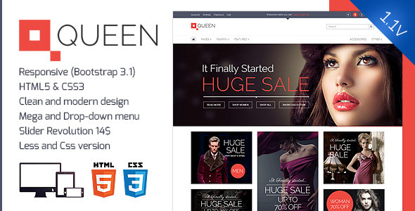 ThemeForest Queen Responsive E-Commerce Template v 1.1 7090362