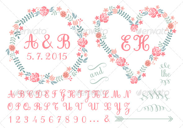 GraphicRiver Monogram in Floral Frames Set 7347387