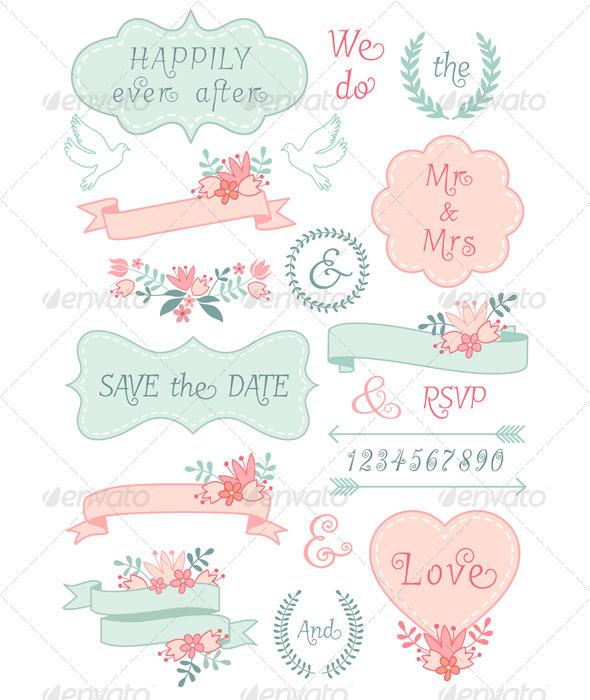 GraphicRiver Vintage Wedding Frames and Ribbons Set 7347459