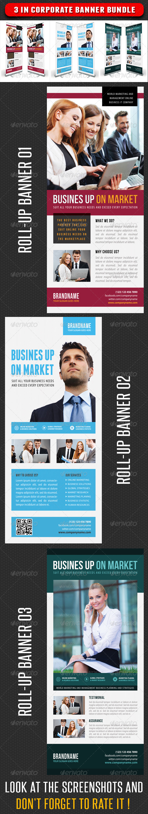 GraphicRiver 3 in 1 Corporate Rollup Banner Bunle 07 7347563