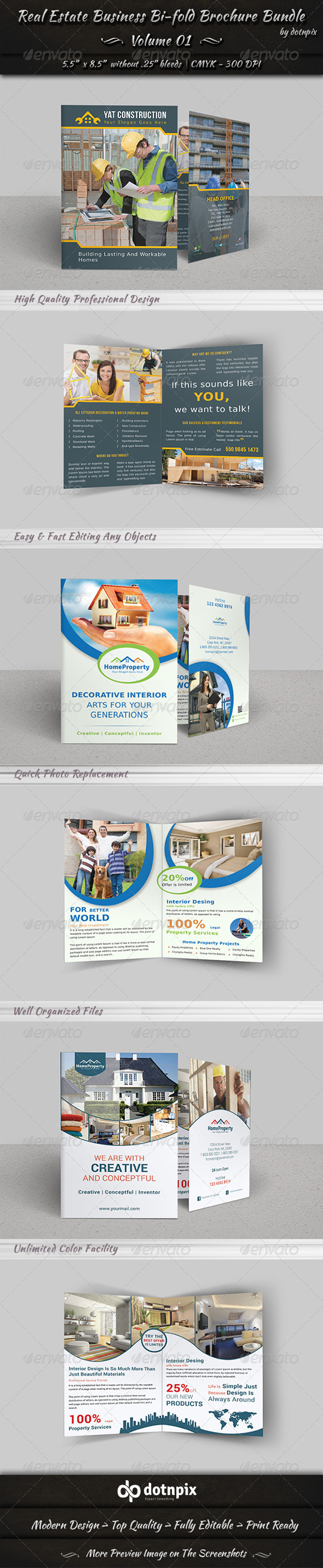 GraphicRiver Real Estate Bi-fold Brochure Bundle Volume 1 7345935