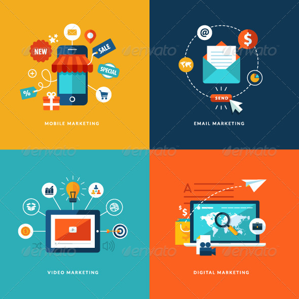 GraphicRiver Flat Design Concept Icons for Internet Marketing 7281641