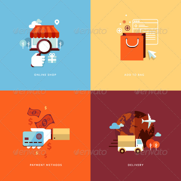 GraphicRiver Flat Design Concept Icons for Online Shopping 7281627