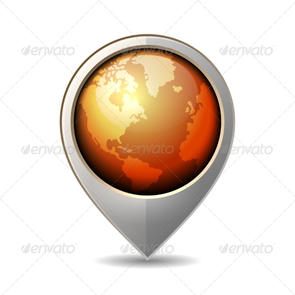 GraphicRiver Map Pointer with Earth Globe Icon Vector 7348107
