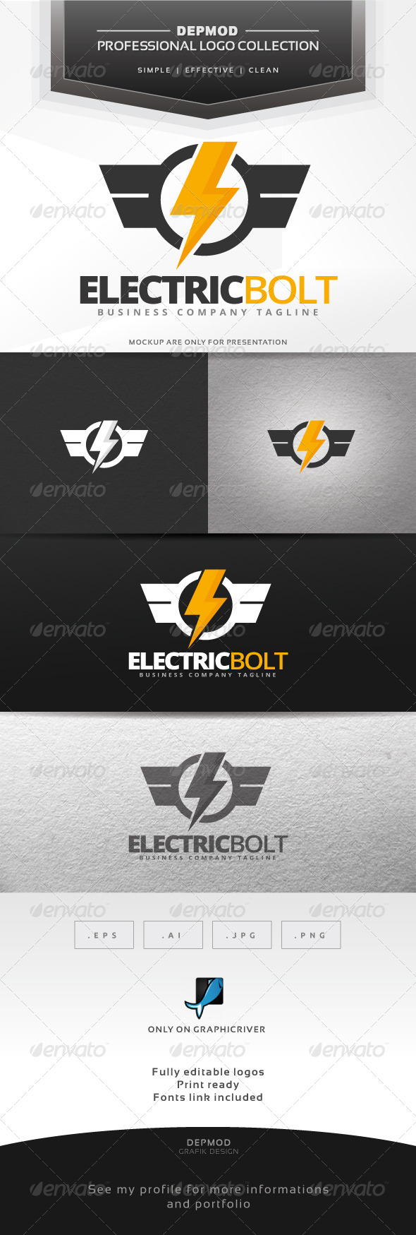 GraphicRiver Electric Bolt Logo 7348110