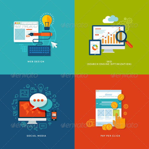 GraphicRiver Set of Flat Design Concept Icons 7281579