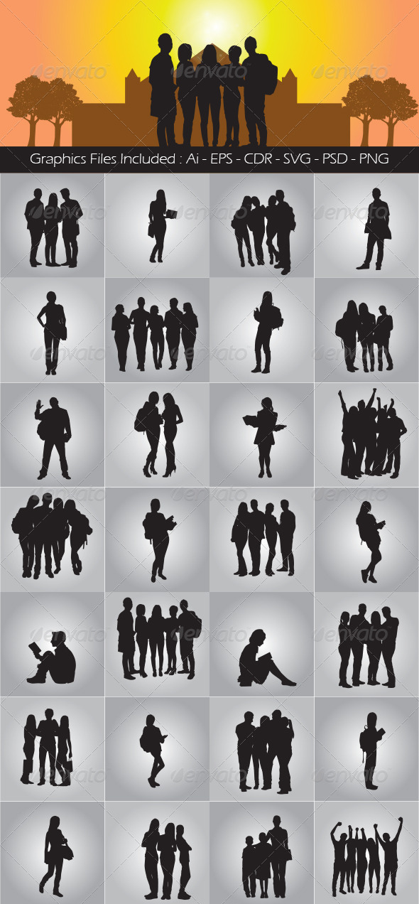 GraphicRiver Student Silhouettes 7350018