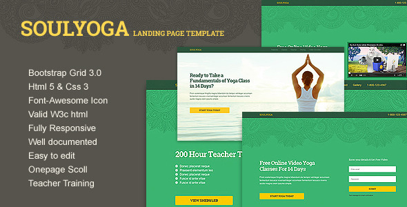 ThemeForest Yoga Landing Page Template 7350963