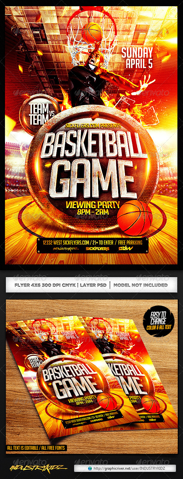 GraphicRiver Basketball Playoffs Flyer PSD 7351212