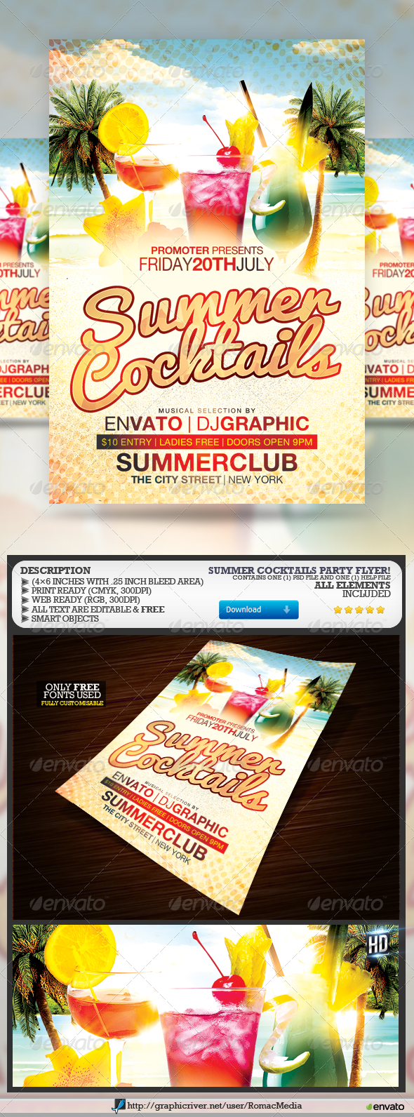 GraphicRiver Summer Cocktails Flyer 7351393