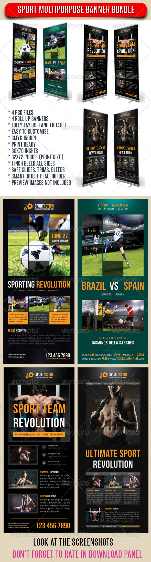 GraphicRiver 4 in 1 Sport Rollup Banner Bunle 02 7351406