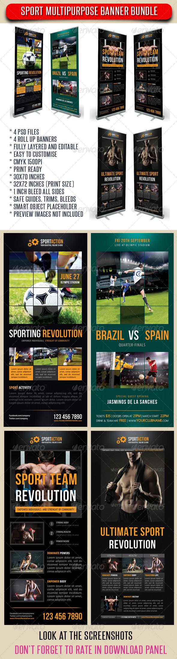 GraphicRiver 4 in 1 Sport Rollup Banner Bunle 02 7351406