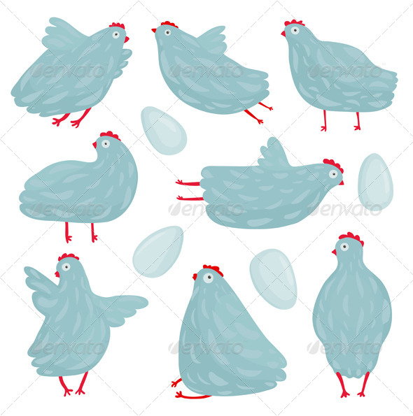 GraphicRiver Funny Hen Poses and Eggs Collection 7351651