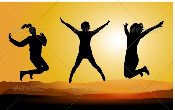 GraphicRiver Silhouette of Happy Jumping People 7351657