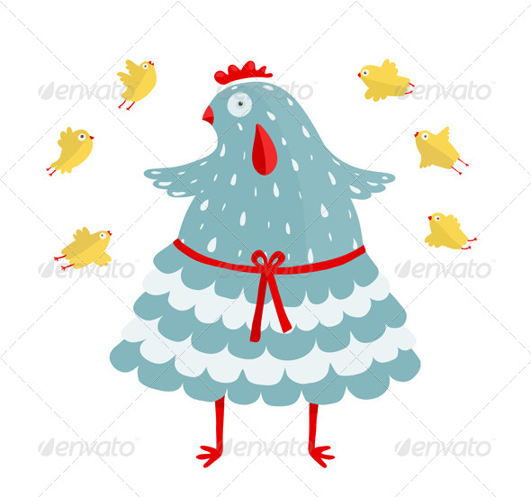 GraphicRiver Funny Mom Hen and her Yellow Chicken 7351667