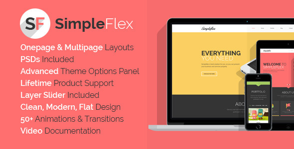 ThemeForest SimpleFlex Flat One Page WordPress Theme 7247149
