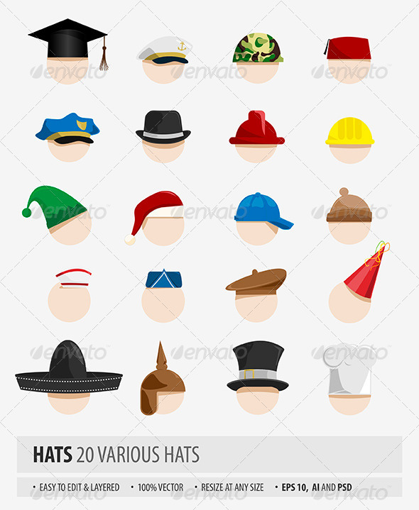 GraphicRiver Various Hats 7351865