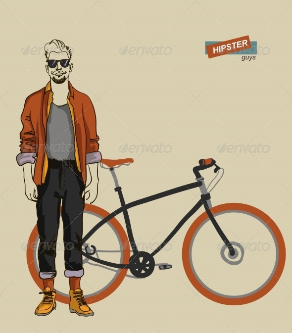 GraphicRiver Young Man with Bike 7351956